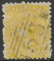 TASMANIA 1870-1913 SIDE-FACE 4d YELLOW ACSC17a cv$60 fine used Very Scarce