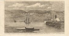 1862 ANTIQUE PRINT- RIVIERE DU LOUP, OR FRASERVILLE, ON THE ST LAWRENCE