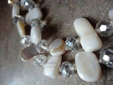 Beautiful & Sparkly!!!  Crystal & Mother of Pearl - Necklace & Earrings Set- NEW