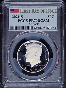 2021 S Silver Kennedy Half Dollar PCGS PR70 DCAM First Day Issue Flag Label 50C