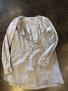 Etro Navy White Striped cotton Ruffle button up 40 2-4