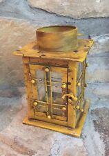 Antiqued Lantern Light Lamp Candle Holder Rustic Metal Glass Hanging ~ Yellow