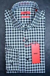 Hugo Boss Men's Jason Slim Fit Black Plaids Cotton Dress Shirt 39 15.5
