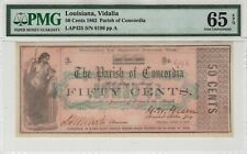1862 50 cent Parish of Concordia Vidalia Louisiana Obsolete Note  PMG 65 EPQ