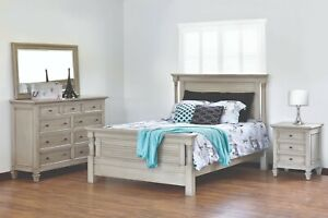 4-PC Amish Coastal Beach House Bedroom Set Solid Wood Queen King