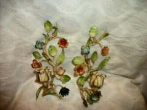 ITALIAN TOLE FLOWERS CANDLE SCONCES CHIPPY ORIGINAL FRENCH FARMHOUSE 1930s