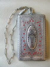 Antique Silver Tone Red Enamel Flower Basket Coin Holder Powder Puff Compact