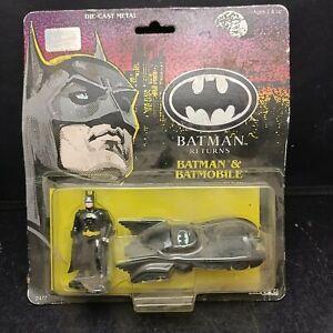 """ERTL Batman Returns Batman & Batmobile 3"""" Die Cast Metal Vintage"""