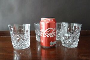 4 Antique Tudor Crystal Burleigh Cut Whisky Glasses Tumblers, Signed h 9,1cm