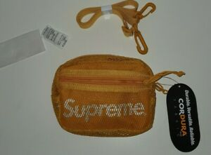 SS20 Supreme small shoulder side bag gold Cordura fabric mesh reflective text
