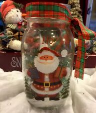 Primitive Christmas Mason Jar Gathering Santa Claus Berries Battery Led Candle