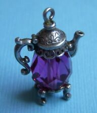 pink crystal sterling charm Vintage Nuvo English teapot