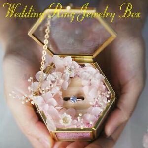 Personalized Ring Bearer Box, Pentagon Ring Box Custom Ring Holder Wedding