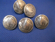 "(5 pieces) Buffalo Nickel Antique Silver Concho 3/4"" Enmon NEW"