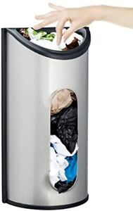 Greenco Wall Mount Bag Saver, Holder, and Dispenser, Brushed Stainless Steel St
