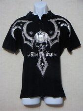 AFFLICTION -Men's Vintage Black Graphic Polo Shirt-LIVE FAST Skull Design-Size M