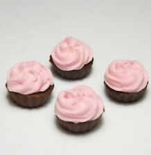 Set of 4 Dollhouse Miniature Pink Cream Cupcakes * Doll Mini Food Cake Bakery