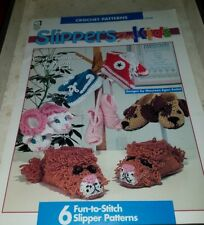 SP018 HOUSE OF WHITE BIRCHES 1995, SLIPPERS FOR KIDS ~ 6 CROCHET DESIGNS