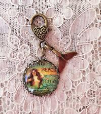 "MERMAID~VINTAGE LONG BEACH ~ Glass Charm Filigree Brass 1"" ZIPPER PULL Key Ring"