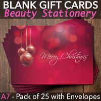 Christmas Gift Vouchers Blank Beauty Salon Card Nail Massage x25 A7+Envelope R