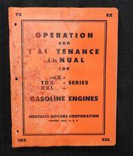 1950s HERCULES MOTORS YX RX TDX RXL GASOLINE ENGINES OPERATORS MANUAL ACCEPTABLE