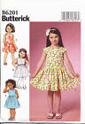 BUTTERICK SEWING PATTERN 6201 TODDLERS/GIRLS 2-5 DRESS W/ BODICE WAIST VARIATION