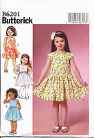 BUTTERICK SEWING PATTERN 6201 GIRLS SZ 6-8 GATHERED DRESSES WITH LINED BODICES