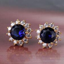 18k Yellow Gold Sapphire and Diamond Stud Earrings 313