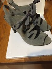 Ladies Grey Suede Open Toe Sling Backs Size 6