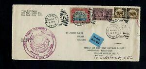 AIRMAIL 1929. COVER 1st ZEPPELIN ROUND THE WORLD FLIGHT 'LAKEHURST' GREEN SLOGAN