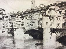 Estampe pointe sèche Lajos Szanto (1889-1965) pont Vecchio Florence Italie