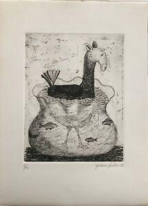 Giordano Frabboni incisione acquaforte Umano e disumano 1972 50x35 firmata