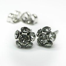 NUOVO Orecchini a bottone con pietre Swarovski Black Diamond/Nero-Grigio Orecchini