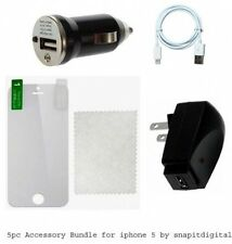 5pc Accessory for iphone 5 Wall AC Adapter + USB Data Cable + Car Charger + LCD
