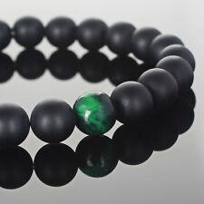 Charm Mens Womens 8MM Green Tiger Eye & Matte Onyx Beads Yoga Beaded Bracelets