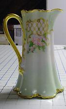 Vintage Limoges hand painted pitcher soft pastels signed