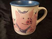 Mug cup smiling piglets pigs farm animals swine porkers coffee tea blue