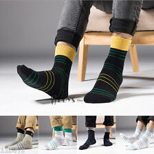 5 Pairs Mens Business polo sport style Ankle Quarter Cotton Socks striped Casual