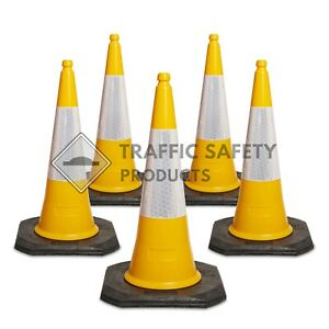 Pack of 5 - ELITE Traffic Cones 750mm 2 piece YELLOW