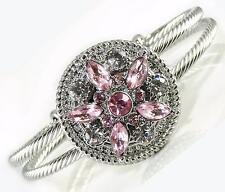 Silver Cable Cuff Bracelet Pink Crystal Interchangeable Charm Flower Noosa Women