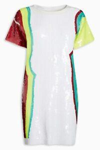 BNWT Next Multicoloured Sequin Embellished Evening Occasion Tunic Dress Medium