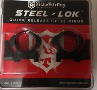 "Nikko Steel LOK Quick Release QD Weaver/Picatinny Scope Mount Rings - Med/Low 1"""