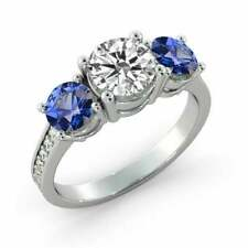 Three Stone 2.37ct Blue Sapphire & Diamond Engagement Ring 14K White Gold