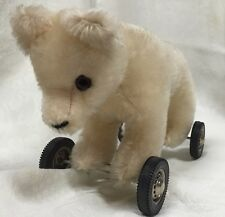 Vintage Antique Mohair Teddy Bear on Metal Hard Rubber Wheels Brown  Glass Eyes.
