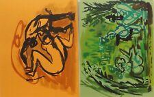 "2 Bilder"" Orange/Green Paiting Akt/Person""Aqua. zuschreib. Calix  - Paris France"