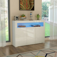 Modern High Gloss Sideboard Buffet Cabinet Cupboard with 3 Doors Storage Unit UK