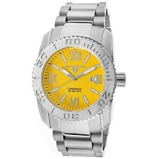 USED Swiss Legend Men's Yellow Dial Silver Stainless Steel Quartz Watch 10059-77