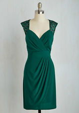 Modcloth With Each Dazzling Day Emerald Green Beaded Dress Size 10 One by Eight