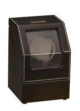Diplomat Automatic Black Leather Single Watch Winder Box Case Battery AC Powered