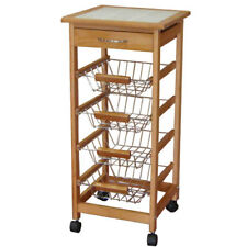 Robert Dyas Kitchen Trolley Tile-Topped with Solid Wood Frame, Serving Cart